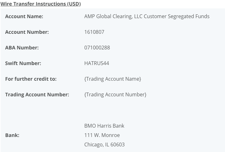 AMP Wire transfer Instructions