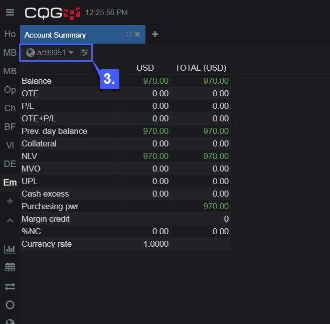 CQG Desktop Account Balance 4