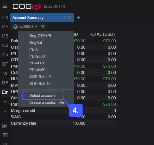 CQG Desktop Account Balance 5