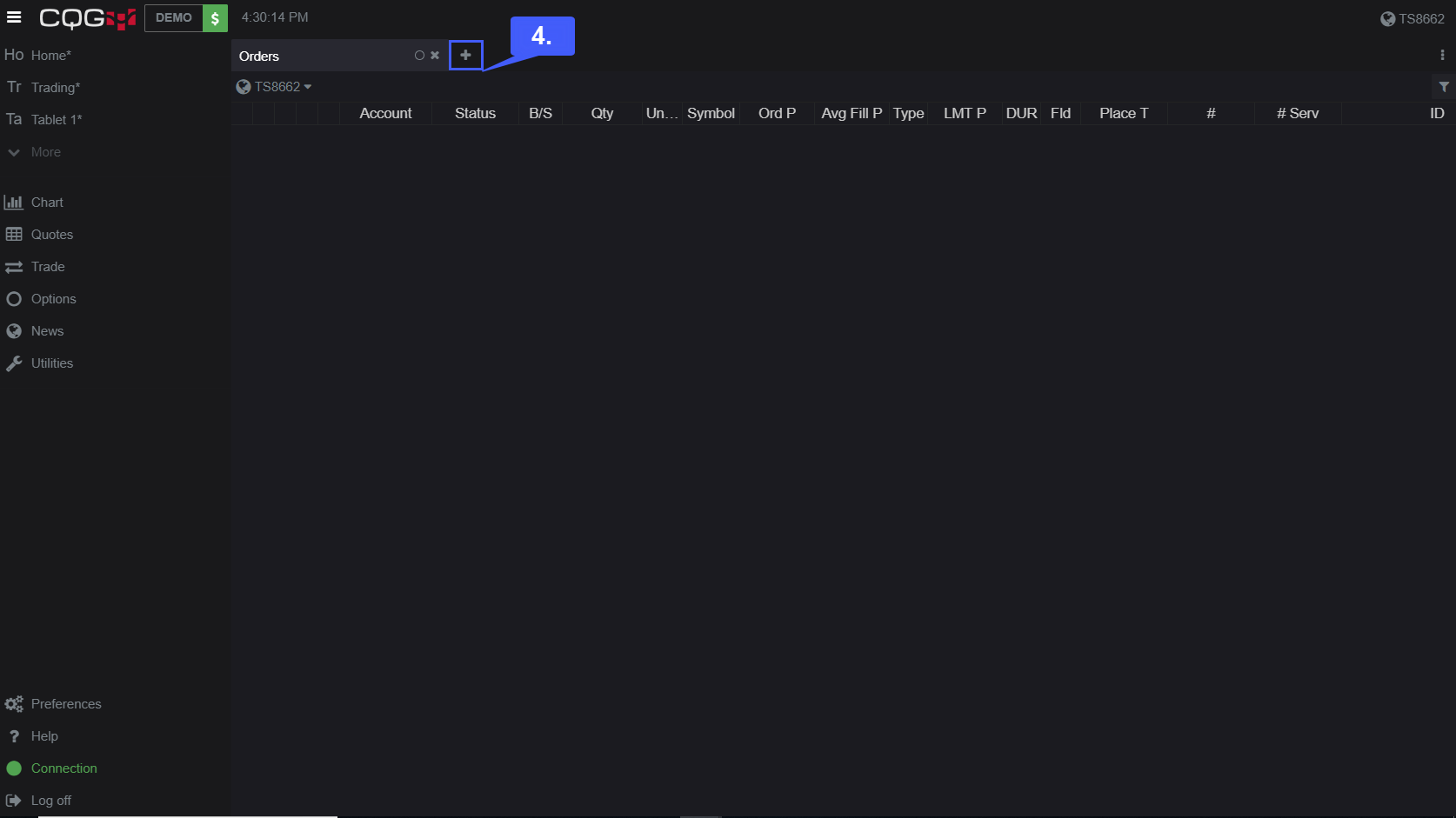CQG Desktop Trade Activity 4